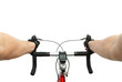 bicycle handle bar with hands of cyclist