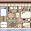 Set of elements for scrap-booking, vintage style