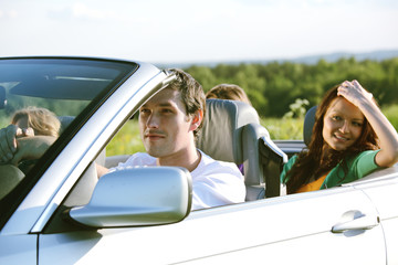 friends trip in cabriolet
