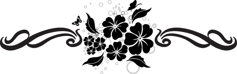 bandeau floral noir