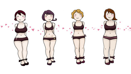 Quattro donne con diverse corporature
