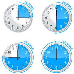 set ofblue timer 15 30 45 and 60 minutes isolated on white