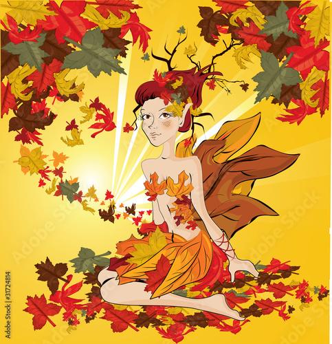 vector autumn fairy