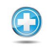 Boton azul borde metalico sanidad
