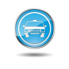 Boton azul borde metalico taxi