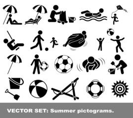 Vector set summer pictograms