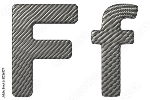 Carbon fiber font F lowercase and capital letters