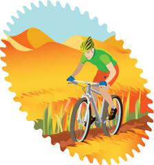 Boy riding a mountain-bike – rural scene.