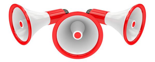 Three red loudspeakers