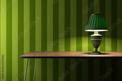 Vintage lamp on green wallpaper background