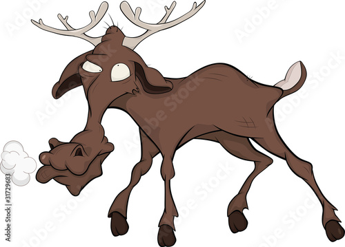 Elk. Cartoon