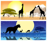 africa safary animales on sun background (banner)