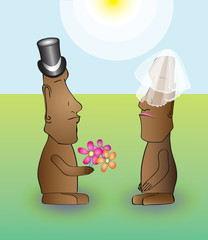 Bride and groom at a Moai wedding