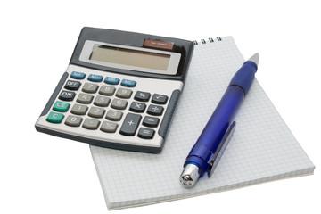 Calculator pen and notebook