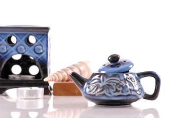 Blue Ceramic Oil Burner Kettle