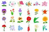 Fototapety Set of flowers. Vector
