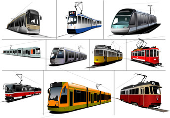 City transport. Ten kinds of Tram. Vintage and modern. Vector il