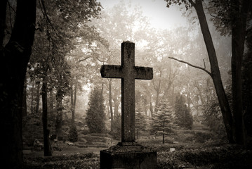 cross in fog at the cemetary