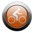 """Orange Metallic Orb Button """"Bicycle Symbol / Bicycle Trail"""""""