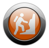 "Orange Metallic Orb Button ""Climbing"""