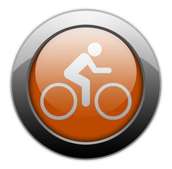 "Orange Metallic Orb Button ""Bicycle Symbol / Bicycle Trail"""