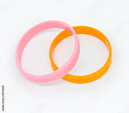 Yellow and pink rubber bracelet