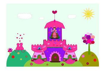 castle with a princess vector