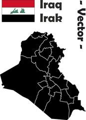 Irak Vektor unterteilt in Provinzen