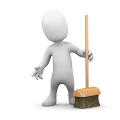 3d Little man has to sweep up the mess with his broom