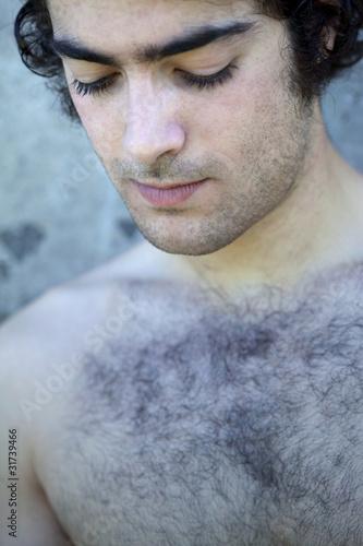jeune, homme, mâle, viril, torse nu, garçon, adulte, poilu