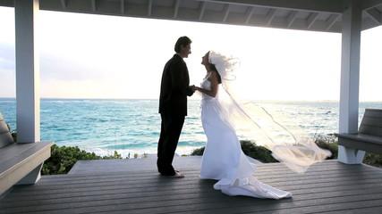 Caucasian Couple's Paradise Island Wedding
