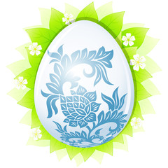 Easter egg with leaves