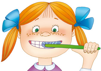 little girl cleans her teeth