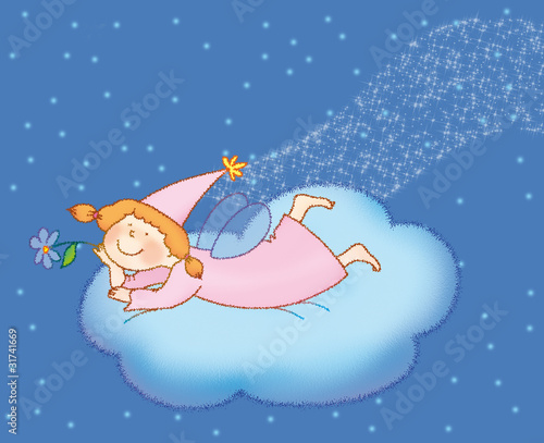 little fairy  on  the cloud