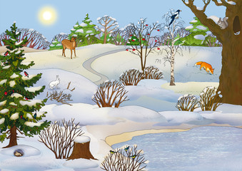 forest landscape with animals in winter