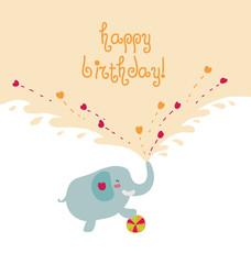 Elefante felice bigliettino compleanno