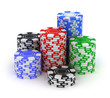 Big stack. Poker gambling chips isolated on white