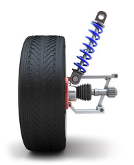 Wheel, shock absorber. Isolated on white