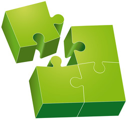 Puzzle verde con 4 pezzi