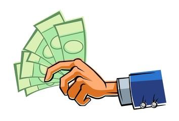 Hand with money.
