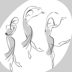 dancing woman. vector set isolated
