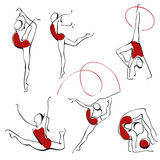 rhythmic gymnastics. set gray figures 3. poster