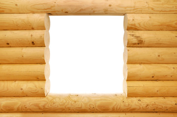 wooden balk window frame, clipping path
