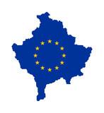 EU flag on map of Kosovo poster