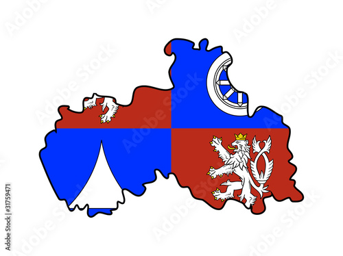 Liberec state flag and map