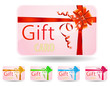 set of pink gift card with luxury ribbon