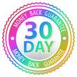 rainbow money back guarantee sign isolated on white background