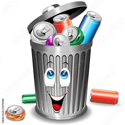 Riciclaggio Alluminio-Bidone Cartoon-Alluminium Recycle Bin