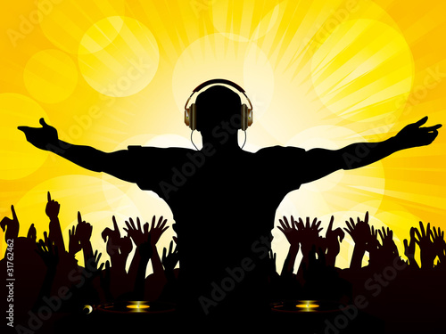 DJ and crowd on a yellow background