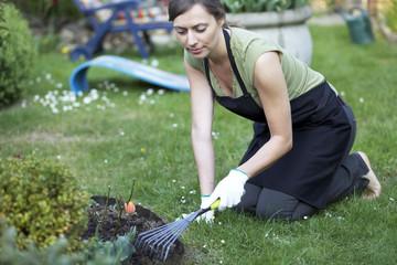 Frau pflanzt Blumen